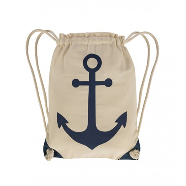 Kék-fehér-bézs tengerészzsák 50 cm Hajós divat, táska